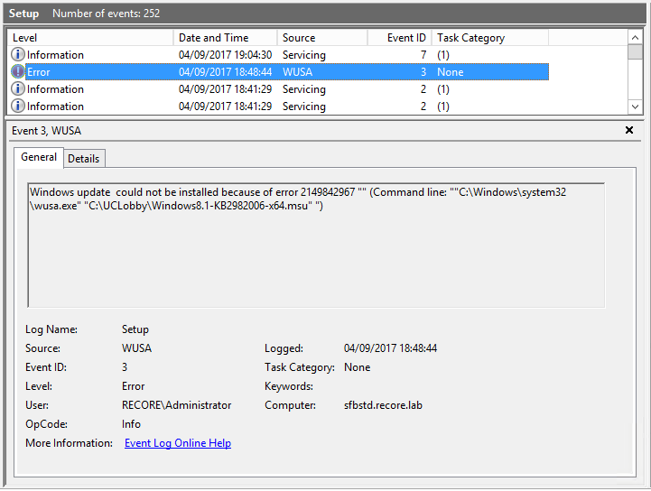 SfB Server: Cannot install KB2982006 \u2013 This update is not applicable