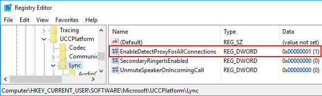 Enabling Lync/SfB Client to use proxy server for SIP traffic instead