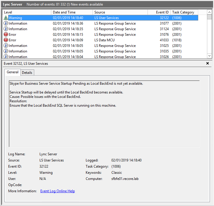 Lync/SfB Server: Rebuilding the SQL Local Databases – UC Lobby