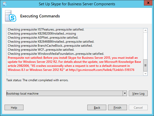 KB2982006 missing while installing SfB Server 2015 on Up-to
