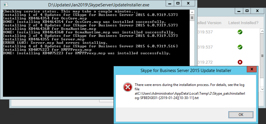 SfB Server 2015 (KB4464355) could not be installed  Error